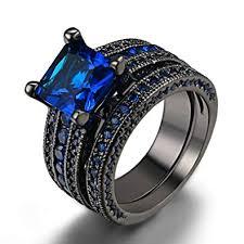 stone bands rings images Double fair womens black gold 18k vintage rings set jpg