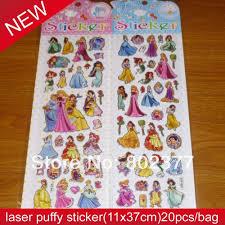 100 princess stickers for walls disney princess royal debut all princess sticker bag laser puffy sticker11x37cm puffy