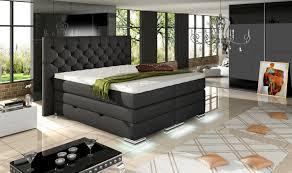 Schlafzimmer Bett Mit Led Mailand Boxspring Bett Mit Bettkasten Schwarz Boxspringbetten