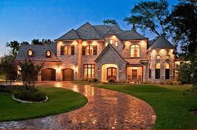 landscape french country house design exterior with large home