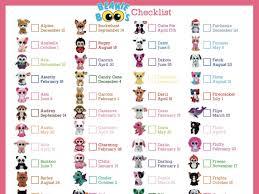 beanie boo checklist instant download 8 10 5 birthday