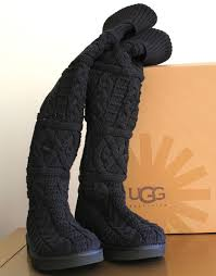 womens ugg knit boots ugg s the knee twisted cable black sz us 10 uk 8 5