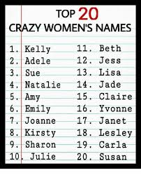 Memes Names - top 20 crazy women s names 11 beth kelly 1 12 jess 2 adele 3 sue