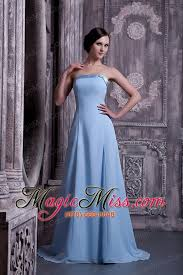 Light Blue Chiffon Dress Light Blue A Line Strapless Brush Train Satin And Chiffon Prom