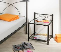 glass top metal black nightstand with matching bed decor crave