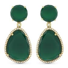 green earrings green agate drop earrings diamond ny