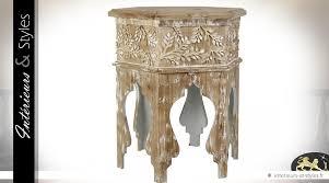 table basse bout de canapé bout de canapé hexagonal de style en bois sculpté 77 cm