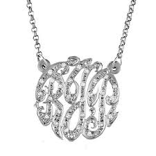 initial monogram necklace sparkling monogram 3 initial necklace with cz diamond initial