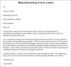 letter for manufacturing job