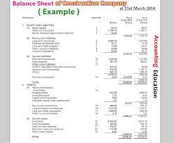 Accounting Balance Sheet Template How To Balance Sheet Of Construction Company Accounting