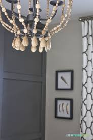 Tutorial On Diy Beaded Chandelier Remodelaholic Home Office Makeover With Diy Wood Bead Chandelier