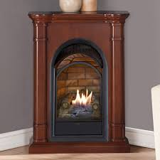 decor white corner gas fireplace