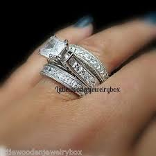 wedding band sets 925 sterling silver 14k princess diamond cut engagement ring