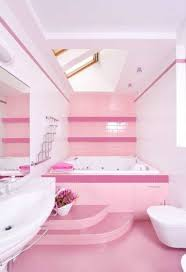pretty pink white teenage bathroom ideas with drop in tub with
