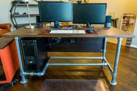diy pipe computer desk wood paneled industrial pipe desk desk week simplified building