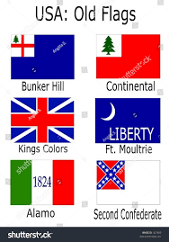 Alamo Flag Old Usa Flags Bunker Hill Continental Stock Vector 327409