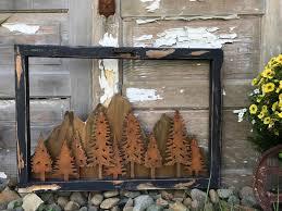 Home Decor Tree Vintage Window Rustic Sign Mountain Decor Tree Decor Rustic