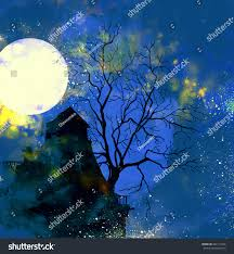 halloween picture background halloween background mystical night city tree stock illustration