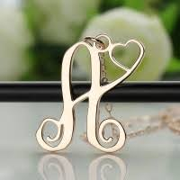 Single Initial Monogram Necklace Single Initial Monogram With Heart Necklace Rose Gold