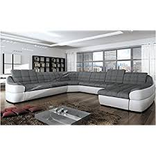 Modern Corner Sofa Bed Bmf Infinity Xl White Grey 6 Seater Large Faux Leather