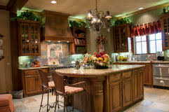 luxury kitchen with granite island and window royalty free stock