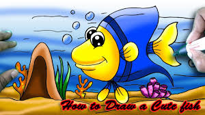 how to draw a cute cartoon fish step by step easy art and shade
