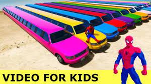 colors long cars spiderman cartoon kids nursery rhymes