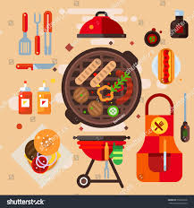 Design Products For Home Set Barbecue Facilities Home Restaurant Party Stock Vector