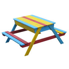 childrens wooden picnic table benches childrens wooden multi coloured picnic table bench sandpit rush it uk