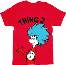 amazon com dr seuss thing 1 or thing 2 red t shirt clothing