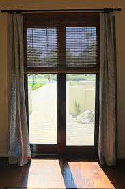 bamboo blinds with curtains sliding door window treatment