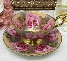 roses teacups aynsley cabbage teacup and saucer by marquistreasures high