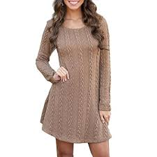 womens knitted jumper dress knitwear slim long sleeve jumper swing