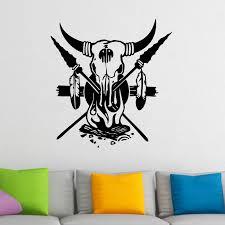 buffalo skull cross spears native american indian wall sticker buffalo skull cross spears native american indian wall sticker decal a