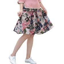 knee length skirt printed floral women pleated skirt vintage bohemian knee