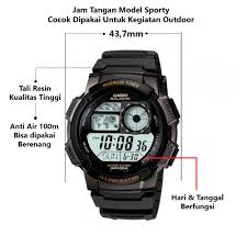 Jam Tangan Casio New casio jam tangan pria hitam resin ae 1000 w 1a lazada