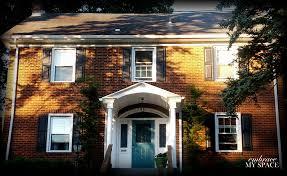 Teal Front Door by Brick House With Teal Front Door
