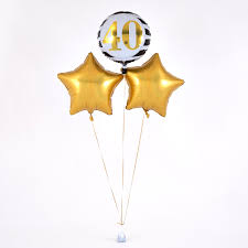 40th birthday delivery 40th birthday gold balloon bouquet inflated free delivery