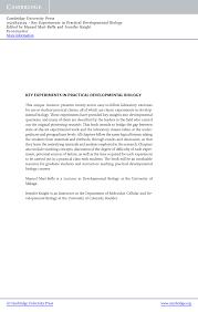key experiments in practical developmental biology pdf download