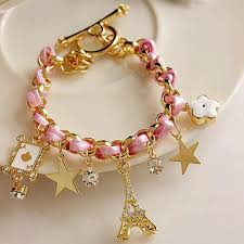 gold chain bracelet with leather images Famshin new hot sell fashion jewelry multielement gold chain jpg