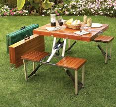 Folding Picnic Table With Benches Wooden Picnic Table Folds Into A Briefcase