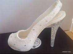 high heel cake topper ruffle shoe tutorial a template for my small ruffle shoe http