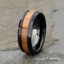mens wedding bands wood inlay mens rings with wood inlay black tungsten carbide wedding band