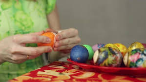 Decorating Easter Eggs Video by Decorating Easter Eggs With Fabric And Lace Stock Video Footage