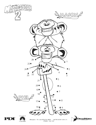 madagascar 2 the chimps dot to dot picture coloring pages
