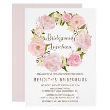bridesmaids brunch invitations peonies wreath baby shower invitation zazzle