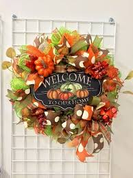 mesh wreaths fall welcome to our home deco mesh wreath