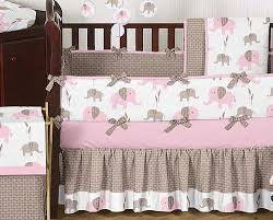 pink and taupe mod elephant baby bedding 9pc crib set by sweet