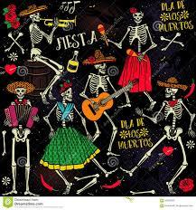 Halloween Skeleton Dance Dia De Los Muertos Stock Vector Image 59538559