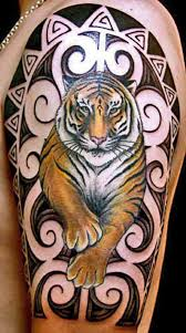 japanese tiger with polynesian design on half sleeve